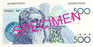 anmärkningsavers för belgisk franc 500 royaltyfria bilder