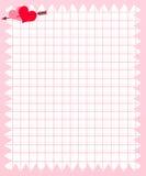 Anmärkningspapper av den rosa fyrkanten med hjärta och pilen Royaltyfri Bild