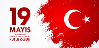 anma του u Ataturk ` 19 mayis, genclik bayrami spor του VE Μετάφραση από τον Τούρκο: 19ος μπορέστε εορτασμός Ataturk, της νεολαία Στοκ φωτογραφία με δικαίωμα ελεύθερης χρήσης