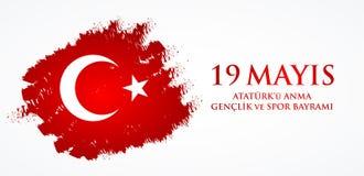 anma του u Ataturk ` 19 mayis, genclik bayrami spor του VE Μετάφραση: 19ος μπορέστε εορτασμός Ataturk, της νεολαίας και της αθλητ Στοκ Φωτογραφίες