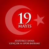 anma του u Ataturk ` 19 mayis, genclik bayrami spor του VE Μετάφραση: 19ος μπορέστε εορτασμός Ataturk, της νεολαίας και της αθλητ Στοκ φωτογραφία με δικαίωμα ελεύθερης χρήσης