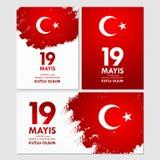 anma του u Ataturk ` 19 mayis, genclik bayrami spor του VE Μετάφραση: 19ος μπορέστε εορτασμός Ataturk, της νεολαίας και της αθλητ Στοκ Φωτογραφία