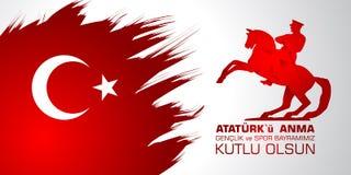 anma του u Ataturk ` 19 mayis, genclik bayrami spor του VE Μετάφραση από τον Τούρκο: 19ος μπορέστε Ataturk, της νεολαίας και της  Στοκ Εικόνα