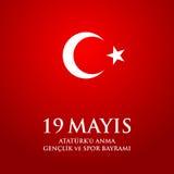 anma del ` u de Ataturk de 19 mayis, bayrami del spor de VE del genclik Traducción: el diecinueveavo puede conmemoración de Atatu Foto de archivo libre de regalías