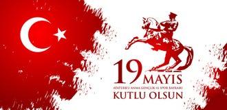 anma del ` u di Ataturk di 19 mayis, bayrami di spor della VE del genclik illustrazione di stock