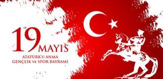 anma del ` u di Ataturk di 19 mayis, bayrami di spor della VE del genclik Immagini Stock Libere da Diritti