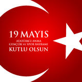 anma del ` u di Ataturk di 19 mayis, bayrami di spor della VE del genclik Traduzione: il diciannovesimo può commemorazione di Ata Fotografia Stock Libera da Diritti