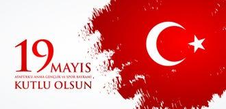 anma do ` u de Ataturk de 19 mayis, bayrami do spor da VE do genclik Tradução: o 19o pode comemoração de Ataturk, juventude e ost Foto de Stock Royalty Free