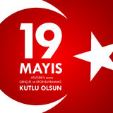 anma do ` u de Ataturk de 19 mayis, bayrami do spor da VE do genclik Tradução: o 19o pode comemoração de Ataturk, juventude e ost Fotografia de Stock