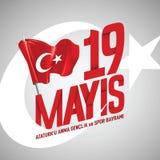 anma do ` u de Ataturk de 19 mayis, bayrami do spor da VE do genclik ilustração royalty free
