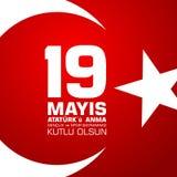anma do ` u de Ataturk de 19 mayis, bayrami do spor da VE do genclik Tradução do turco: o 19o pode de Ataturk, juventude e ostent Fotografia de Stock Royalty Free