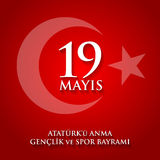 anma du ` u d'Ataturk de 19 mayis, bayrami de spor du VE de genclik Traduction : le 19ème peut commémoration d'Ataturk, jeunesse  Photographie stock libre de droits