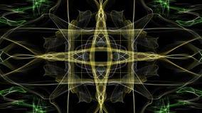 Anmation astratto di frattale, modelli gialli sotto forma di un incrocio, moto del ciclo del tunnel, video decorazione piacevole illustrazione di stock