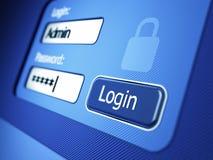 Anmeldung und Passwort Stockbilder
