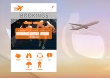 Anmeldungs-Feiertagsurlaub APP-Schnittstelle mit Flugzeug Lizenzfreies Stockfoto