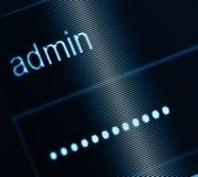 Anmeldungs-Kasten - Benutzername Admin und Passwort Stockfoto