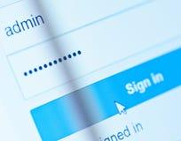 Anmeldungs-Kasten - Benutzername Admin und Passwort Lizenzfreies Stockfoto