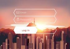 Anmeldungskasten mit Stadtsonnenunterganghintergrund Stockbild