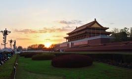 anmen den tian solnedgången Arkivfoto