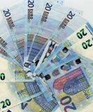 Anmerkung des Euros 20, Hintergrund der Europäischen Gemeinschaft Stockfotografie
