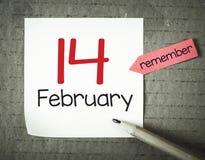 Anmerkung mit am 14. Februar Stockbilder