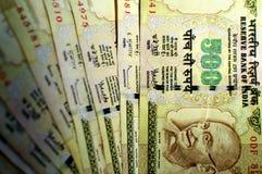 Anmerkungen der indischen Rupie 500 Stockbild