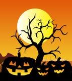 Anmerkungen und ein Baum in einem Mondschein Stockbild