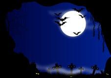 Anmerkungen und ein Baum in einem Mondschein stock abbildung