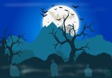 Anmerkungen und ein Baum in einem Mondschein Lizenzfreies Stockfoto