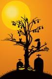 Anmerkungen und ein Baum in einem Mondschein Lizenzfreies Stockbild
