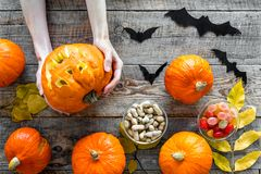 Anmerkungen und ein Baum in einem Mondschein Kürbise, Papierschläger und Herbstlaub auf Draufsicht des hölzernen Hintergrundes Lizenzfreie Stockbilder