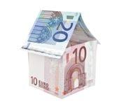 Anmerkungs-Hausaufbau des Euro 10 und Zwanzig Stockfoto