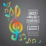 Anmerkungs-Musik-Konzert-Fahnen-buntes modernes musikalisches Plakat vektor abbildung