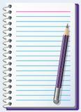 Anmerkungsauflage mit Bleistift Stockbild