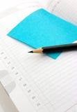 Anmerkungsbuch mit Aufkleber Stockbild