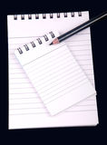Anmerkungsbuch mit Bleistift Stockfotos