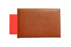 Anmerkungsbuch mit rotem Umschlag nach innen Stockfotos