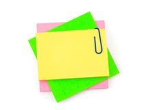 Anmerkungspapier und -clip stockbilder