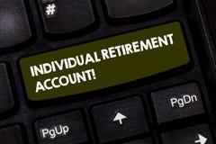 Anmerkungsvertretung einzelnes Ruhestandskonto schreiben Die Geschäftsfotopräsentation investieren und kennzeichnen Kapitalien fü stockbilder