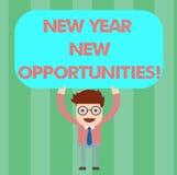 Anmerkungsvertretung neues Jahr-neue Gelegenheiten schreiben Geschäftsfoto Präsentationsneustart-Motivationsinspiration 365 Tage lizenzfreie abbildung