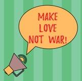 Anmerkungsvertretung schreibend, machen Sie Liebes-nicht Krieg Die Geschäftsfotopräsentation kämpfen nicht gegeneinander haben Fr lizenzfreie abbildung