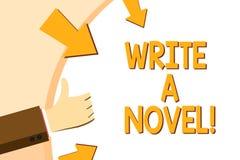 Anmerkungsvertretung schreibend, schreiben Sie einen Roman Die Geschäftsfotopräsentation ist kreativ, etwas Literaturerfindung sc vektor abbildung