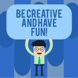 Anmerkungsvertretung schreibend, seien Sie kreativ und haben Sie Spaß Geschäftsfoto, welches die glücklichen schaffenden neuen Sa lizenzfreie abbildung