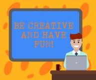 Anmerkungsvertretung schreibend, seien Sie kreativ und haben Sie Spaß Geschäftsfoto, welches die glücklichen schaffenden neuen Sa vektor abbildung