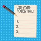 Anmerkungsvertretung schreibend, verwenden Sie Ihr Potenzial Das zur Schau stellende Geschäftsfoto, so viel natürliche Fähigkeit  stock abbildung