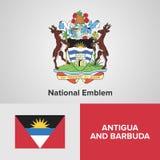 Anmtiua ed emblema nazionale e bandiera di Barbuda Immagini Stock Libere da Diritti
