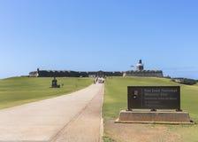 Annäherung an Castillo San Felipe del Morro Stockbilder