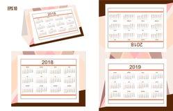 Année américaine 2018, 2019 de calendrier de bureau d'affaires Images stock