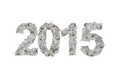 Année 2015 avec des billets de banque du dollar Photo stock