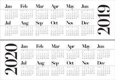 Année 2019 calibre de conception de vecteur de 2020 calendriers illustration de vecteur